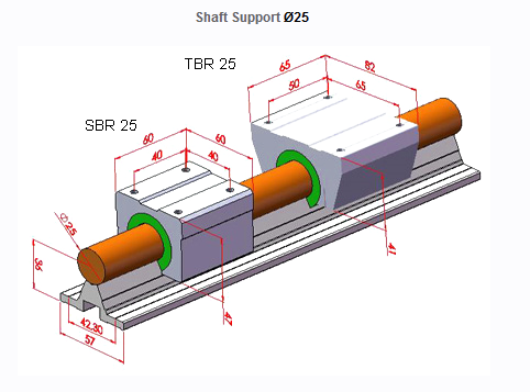 Shaft Support Ø16-20-25-30 Single Bearing Drawing